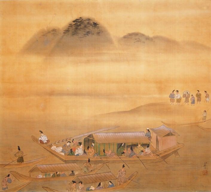長谷川竹友作 額田王の和歌をイメージした絵